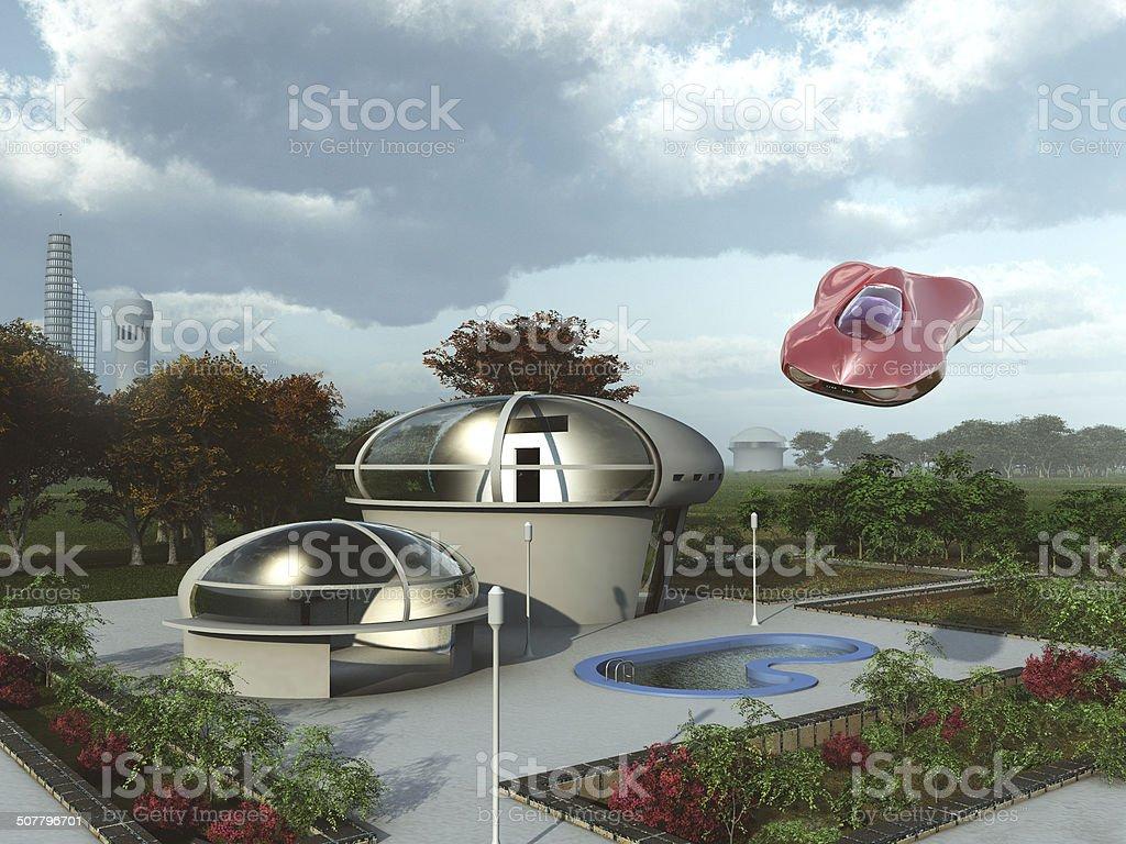 Futuristische Stadtrand von zu Hause – Foto