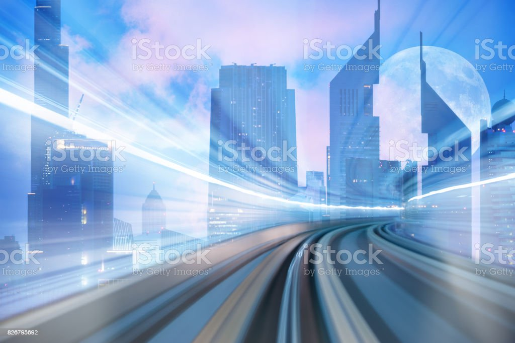 Futuristic subway and skyline stock photo