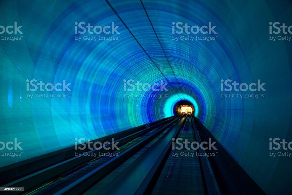 futuristic super speed traffic  blur motion in tunnel stock photo