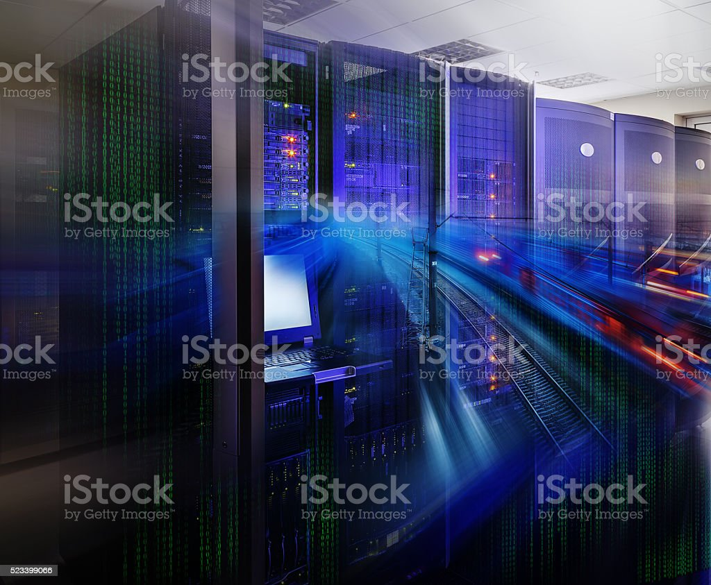 futuristic supercomputer  in data center with railway lines binary code stock photo