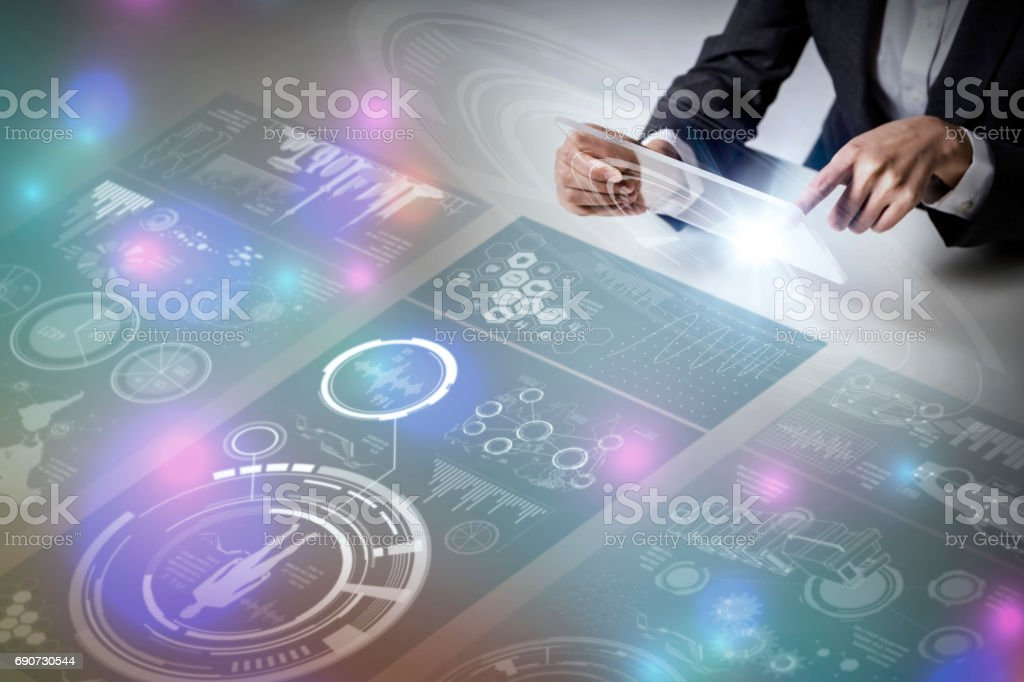 futuristic tablet PC and graphical user interface concept, Internet of Things, Information Communication Technology stock photo