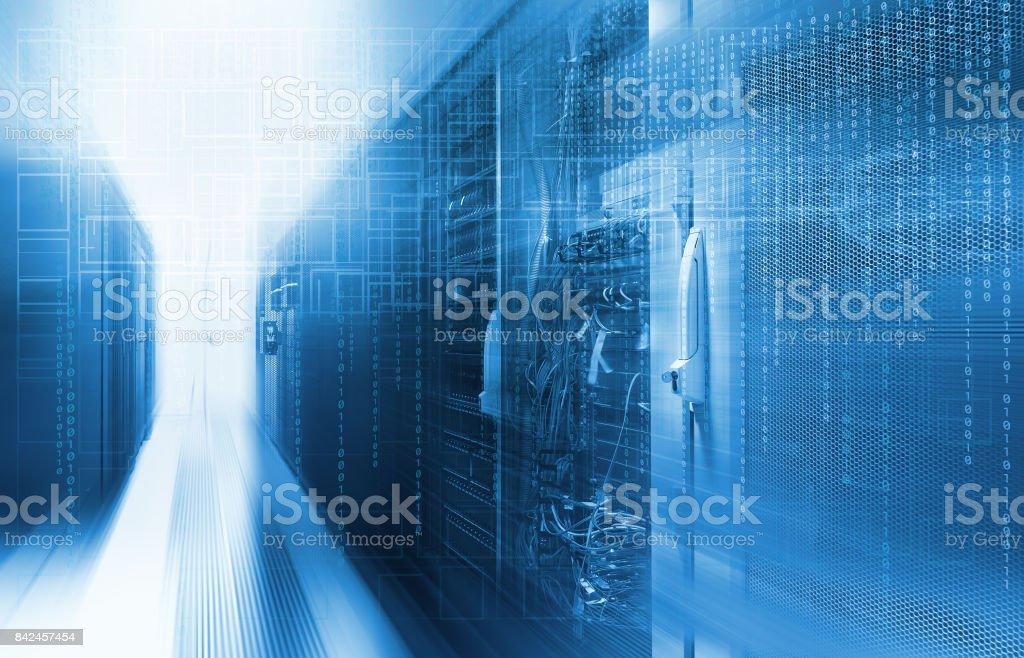 futuristic techno design on background of fantastic supercomputer data center stock photo