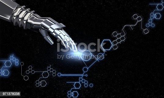 istock Futuristic Technology Background With Robotic Hand 971378038
