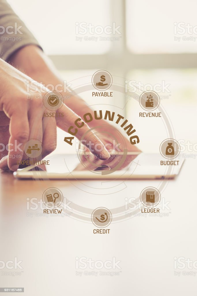 Futuristic Technology Concept: ACCOUNTING chart with icons and keywords stock photo