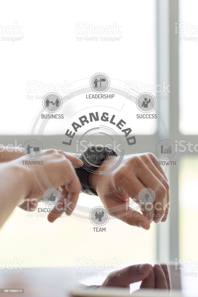 Futuristic Technology Concept: LEARN&LEAD chart with icons and keywords stock photo