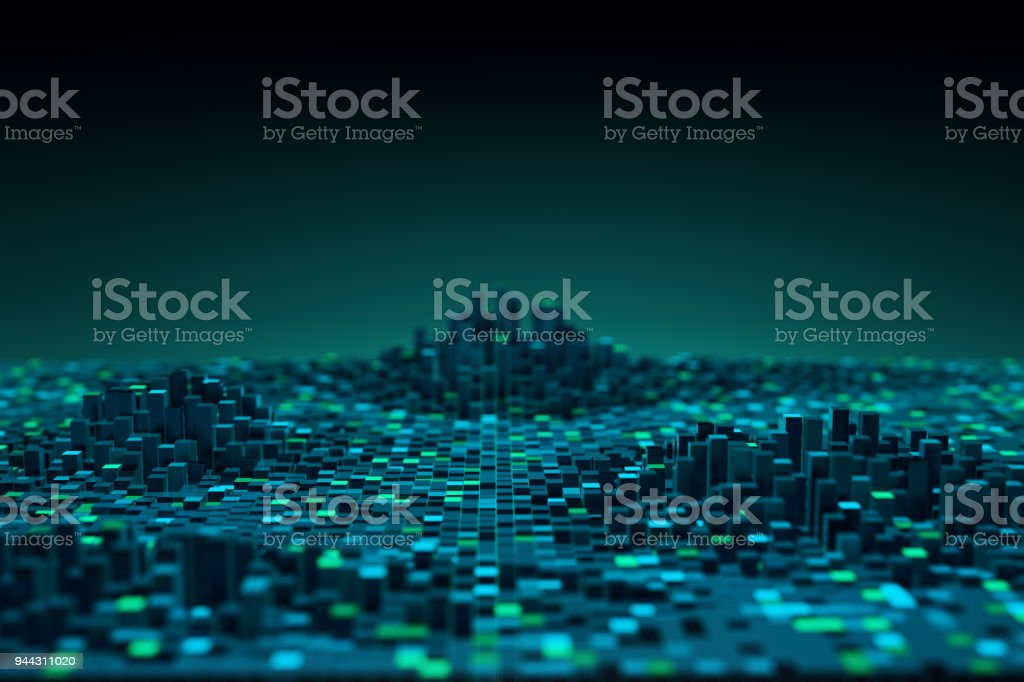 Futuristic technology data background,Cyberspace game city.3d rendering stock photo