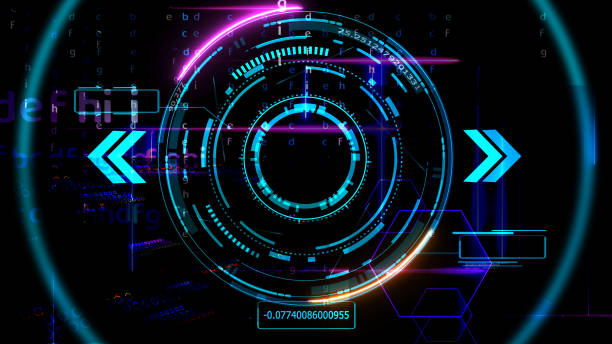 futuristic technology digital holographic element laser glow effect arrow and callout border radar scanning stock photo