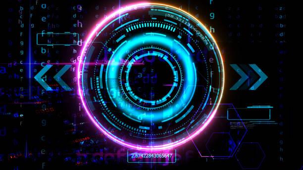 futuristic technology digital holographic matrix element laser glow effect arrow stock photo