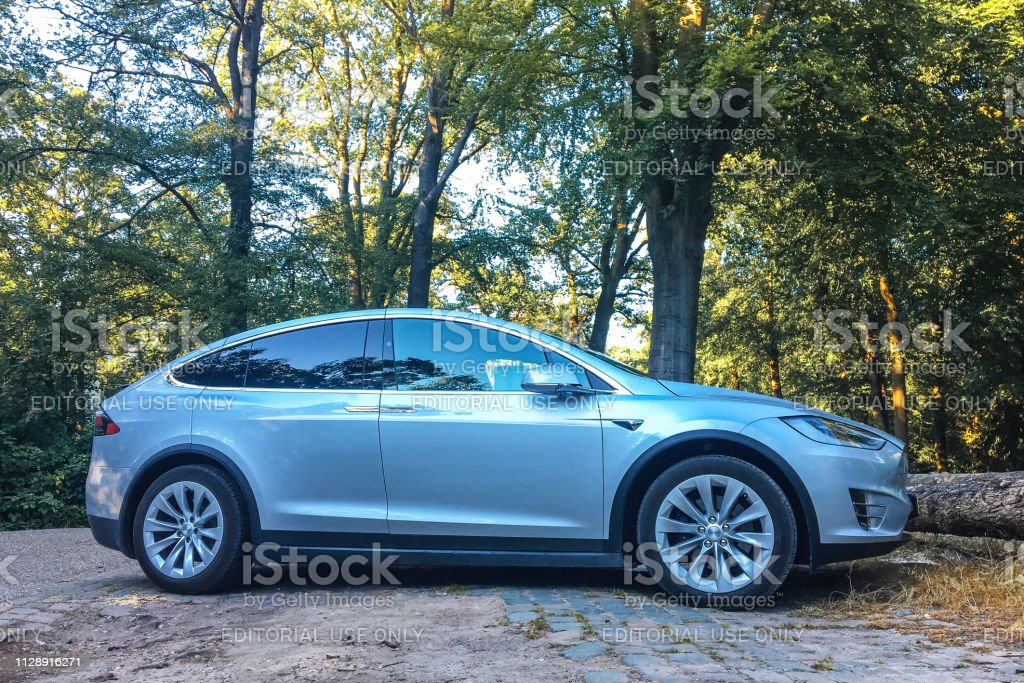 Futuristic Tesla Model X Electric Car Parked in a forest stock photo