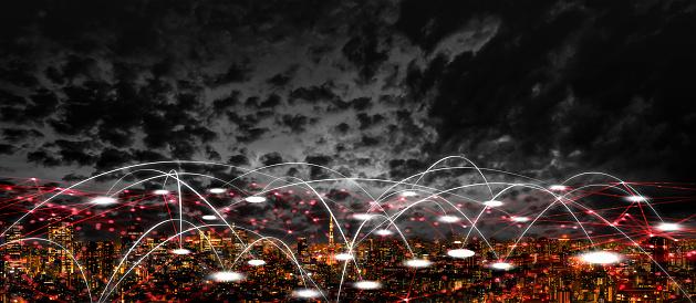 1013969318 istock photo Futuristic tokyo electromagnetic signals 1054513330