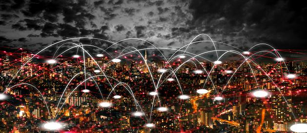 1013969318 istock photo Futuristic tokyo electromagnetic signals 1054514588