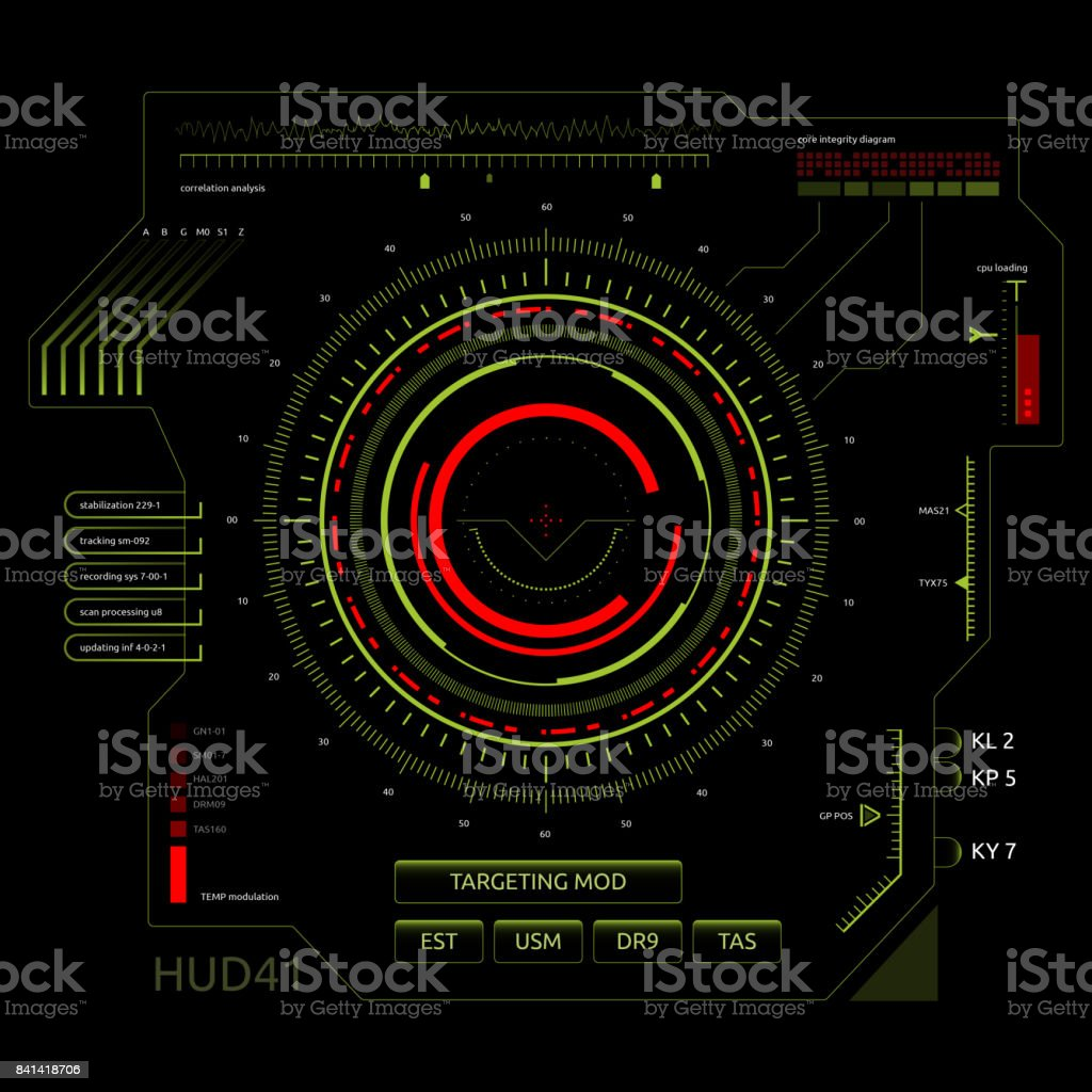 Futuristic touch screen user interface HUD stock photo