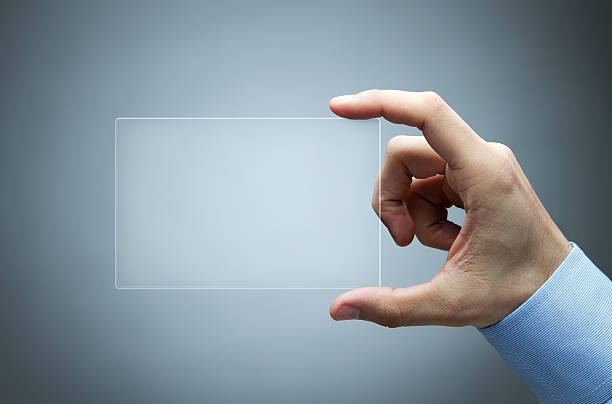 Futuristic, transparent business card with copy space stock photo