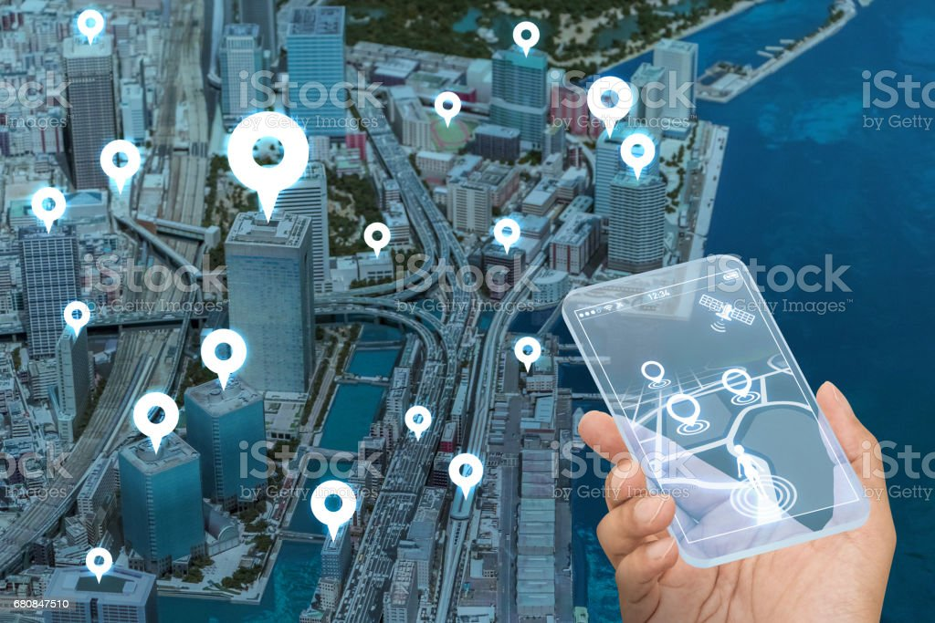 futuristic transparent smart phone and location information system, abstract image visual stock photo