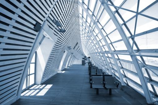Futuristic Transportation Building Stock Photo - Download Image Now