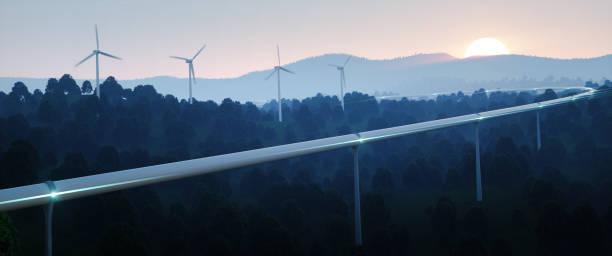 Futuristas viajes concepto y energías renovables. Alta velocidad tubo de viaje tecnología concepto y viento turbinas en el crepúsculo de la noche. Render 3D. - foto de stock