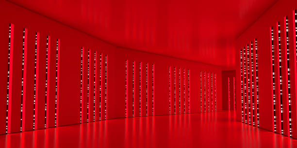 futuristic tunnel illuminated by red light and glowing led - vr red background imagens e fotografias de stock