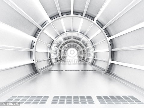 Futuristic tunnel with diminishing perspective.