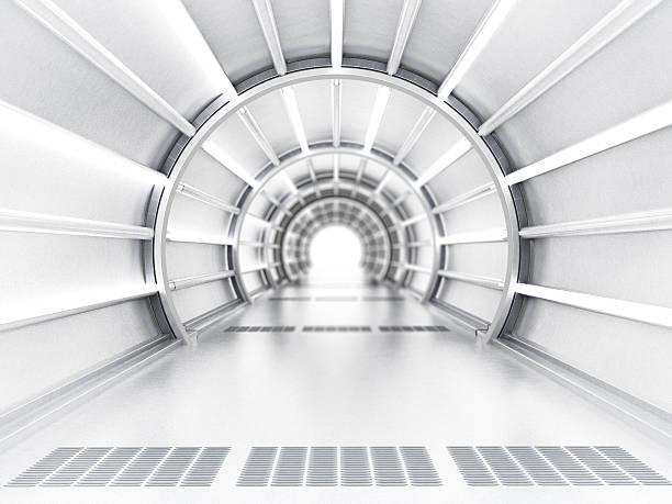 tunnel futuriste - vaisseau spatial photos et images de collection