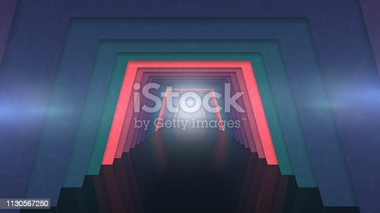 istock Futuristic tunnel with lights background 1130567250
