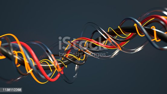 Futuristic twisted cables. Abstract sci-fi design. rendering with DOF