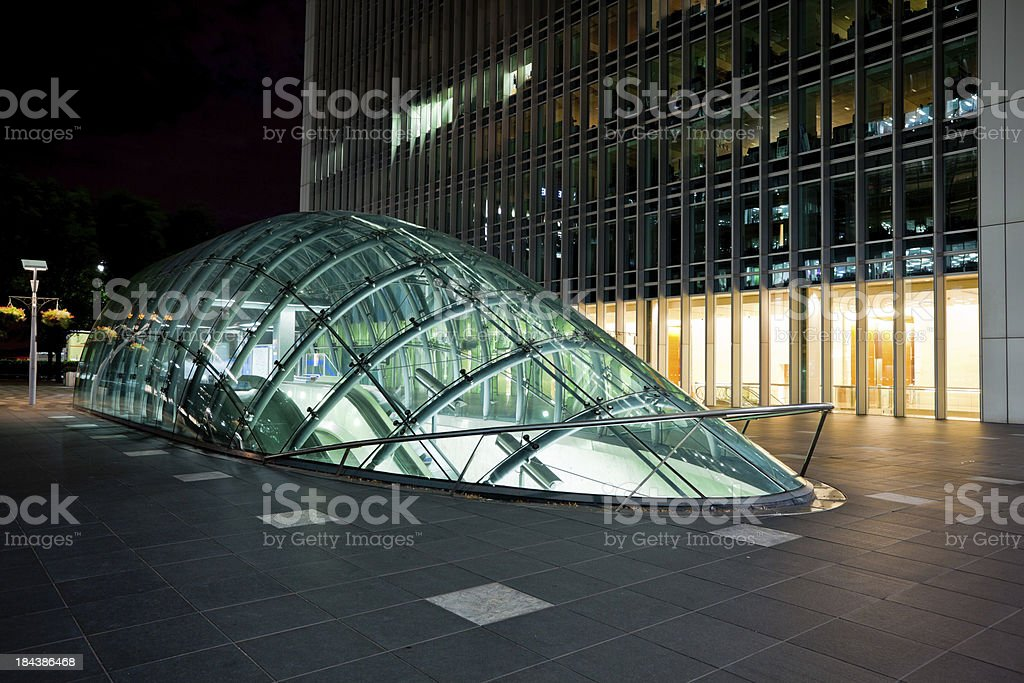 Futuristic Underground Architecture in Canary Wharf, London stock photo