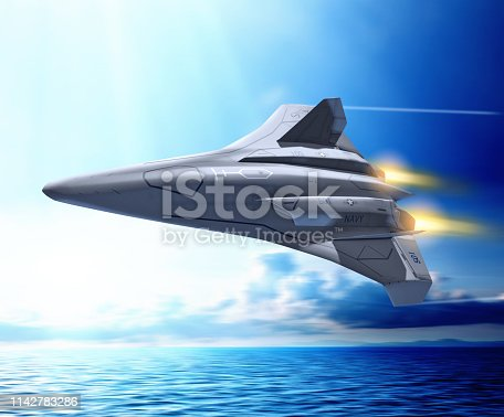 istock Futuristic unmanned combat aerial fighter vehicle 1142783286