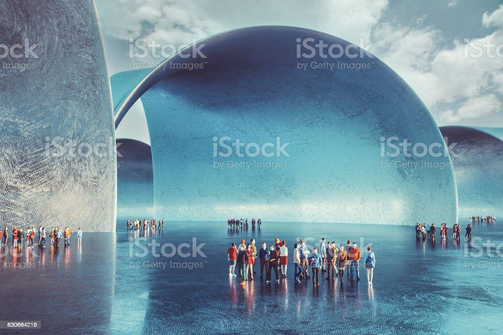 Estructuras Urbanas Futuristas Con Grupos De Personas Foto