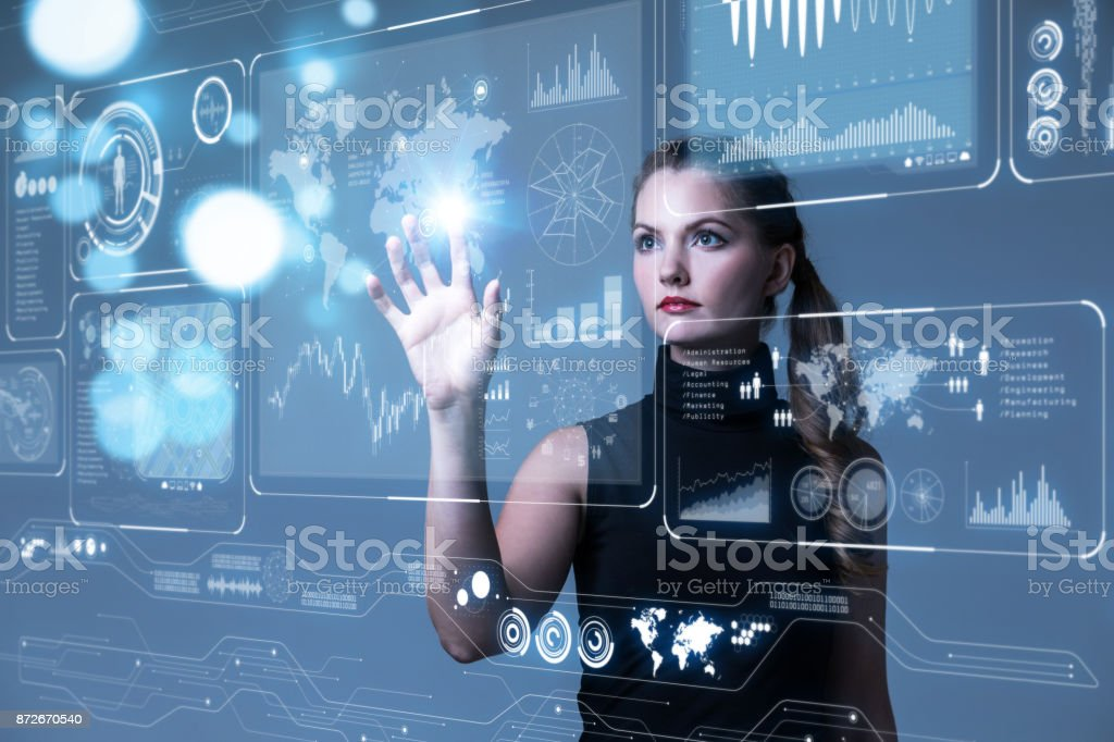 Futuristic user interface concept. Graphical User Interface(GUI). Head up Display(HUD). Internet of things. stock photo