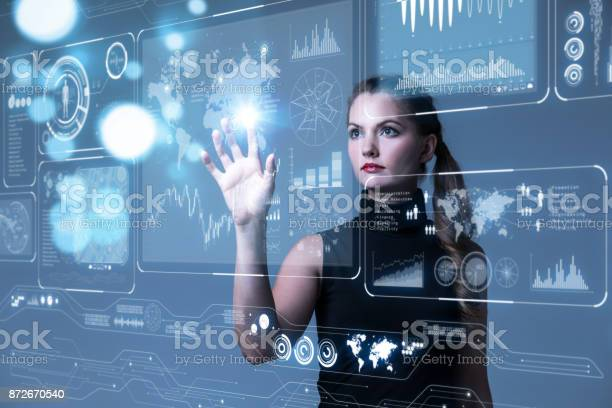 Futuristic user interface concept. Graphical User Interface(GUI). Head up Display(HUD). Internet of things.