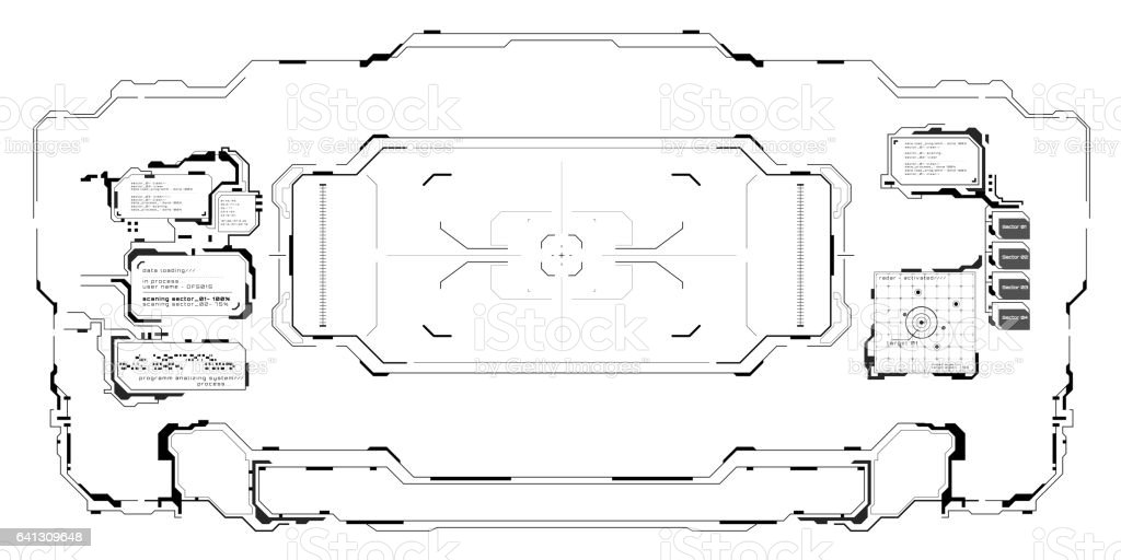 Futuristic user Target Black and White interface. stock photo