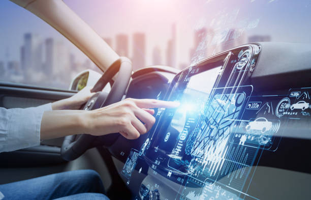 futuristic vehicle and graphical user interface(GUI). intelligent car. connected car. Internet of Things. Heads up display(HUD). stock photo