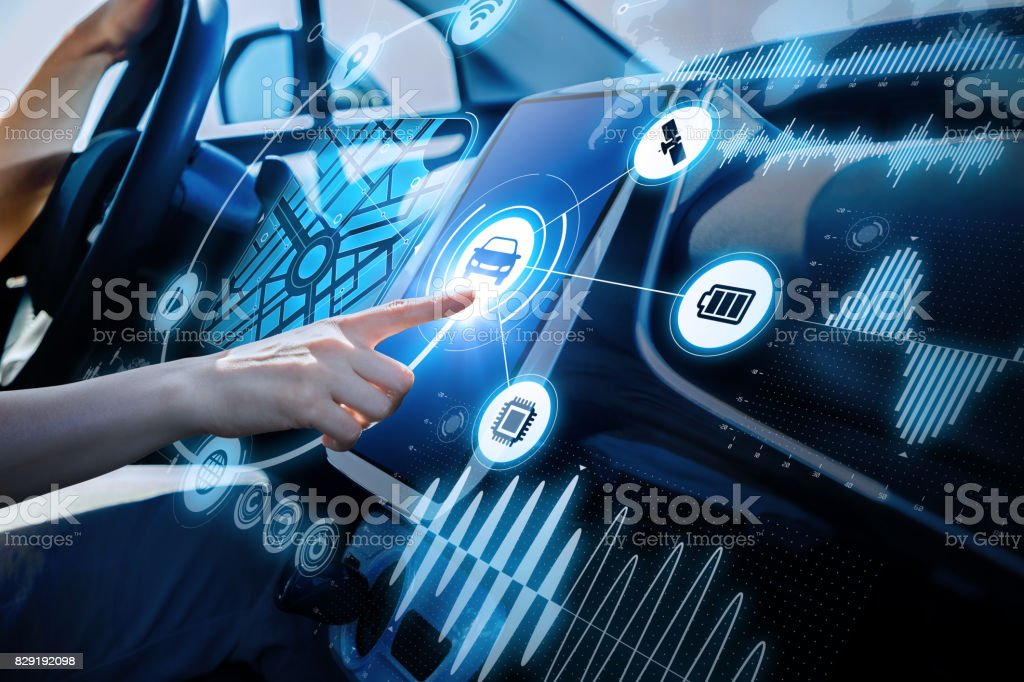 futuristic vehicle and graphical user interface(GUI). intelligent car. connected car. Internet of Things. Heads up display(HUD). - foto stock