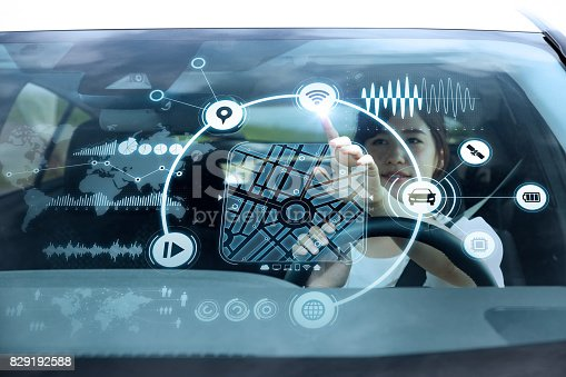 istock futuristic vehicle and graphical user interface(GUI). intelligent car. connected car. Internet of Things. Heads up display(HUD). 829192588