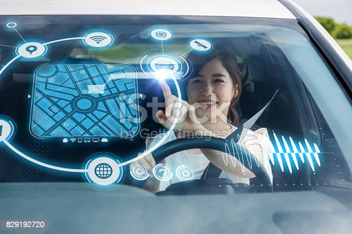 829192098 istock photo futuristic vehicle and graphical user interface(GUI). intelligent car. connected car. Internet of Things. Heads up display(HUD). 829192720