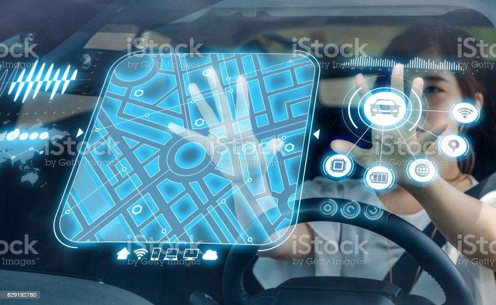 vehículo futurista y interface(GUI) gráfica de usuario. vehículo inteligente. coche conectado. Internet de las cosas. Dirige la display(HUD). - Foto de stock de Abstracto libre de derechos