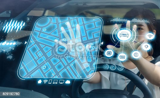 istock futuristic vehicle and graphical user interface(GUI). intelligent car. connected car. Internet of Things. Heads up display(HUD). 829192780