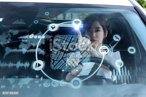 istock futuristic vehicle and graphical user interface(GUI). intelligent car. connected car. Internet of Things. Heads up display(HUD). 829193000