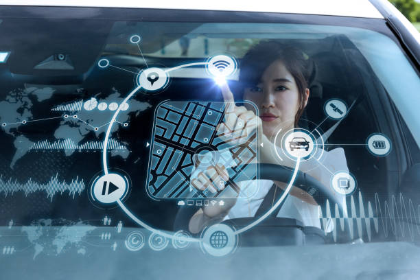 futuristic vehicle and graphical user interface(gui). intelligent car. connected car. internet of things. heads up display(hud). - transportation icons stock photos and pictures