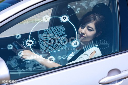 istock futuristic vehicle and graphical user interface(GUI). intelligent car. connected car. Internet of Things. Heads up display(HUD). 829195150