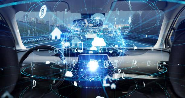 Futuristiska fordon konceptet. Autonoma bil. Förarlösa fordon. bildbanksfoto