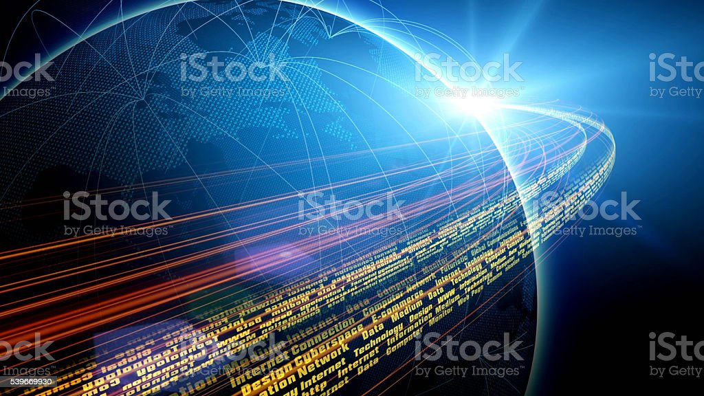 Futuristic view of planet Earth with global connections stock photo