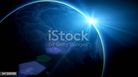 istock Futuristic view of planet Earth with global connections 541303290