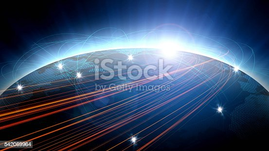 istock Futuristic view of planet Earth with global connections 542069964
