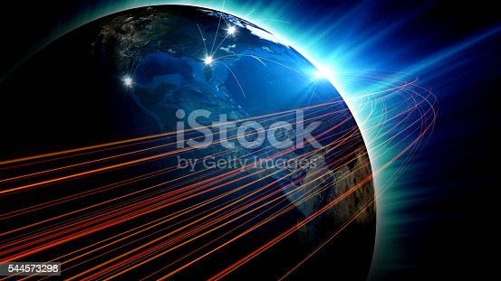 istock Futuristic view of planet Earth with global connections 544573298