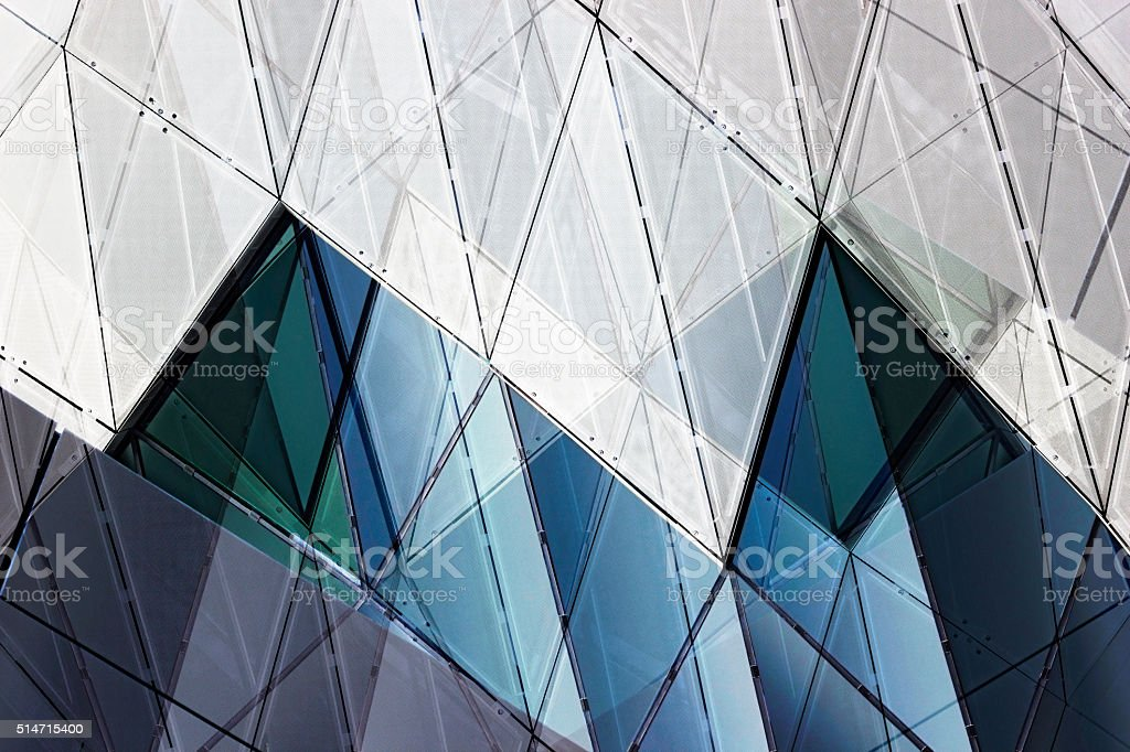 Futuristic wall, ceiling or facade. Architectural background with polygonal pattern. stock photo