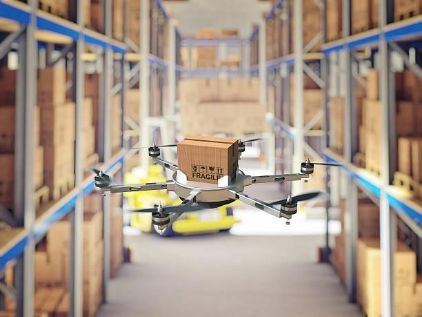 futuristic warehouse - delivery robot bildbanksfoton och bilder