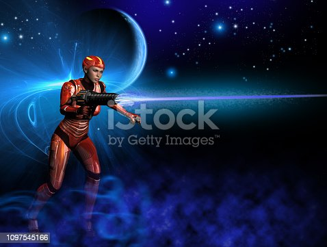 istock A futuristic warrior with red metallic uniform, shooting with heavy weapon, in the background a nebula, a planet and bright stars, 3d illustration 1097545166