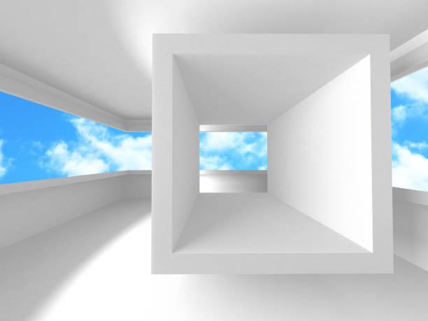 Futuristisches white Architecture Design auf bewölktem Himmel hintergrund – Foto