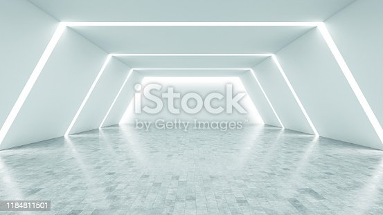 Futuristic White Interior with Lights. 3d Render